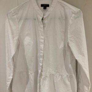 Jcrew white button down shirt with peplum detail